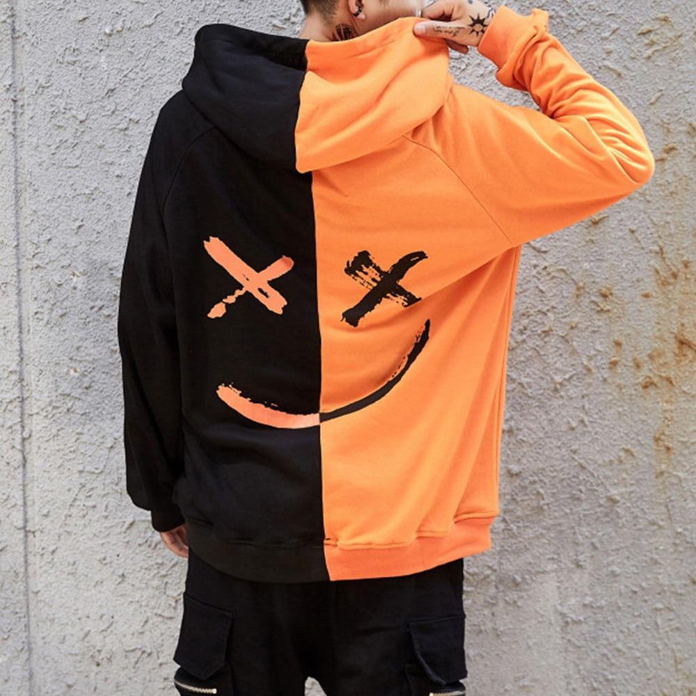 Unisex 2018 Autumn Winter Teen's Smiling Face Fashion Print Hoodie Sweatshirt Pullover Stitching Color Fun Symbol Sportshirt