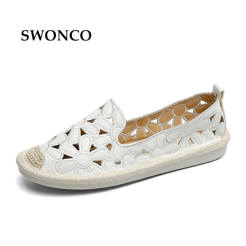 SWONCO Femmes Appartements de Chaussures Broderie Pêcheur Femelle Chaussures 2018 Printemps Été Femmes Chaussures Slip Sur Mocassins Évider Chaussures