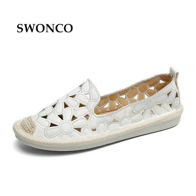 SWONCO pisos de las mujeres zapato bordado pescador zapato femenino 2018 Primavera Verano mujeres zapatos deslizamiento en mocasines ahueca hacia fuera los zapatos
