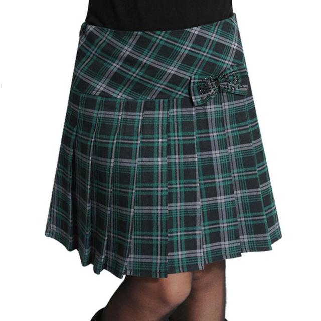 3b5f603eacecb 2018 Spring Autumn Plaid Skirt High Waist Pleated Skirt Casual Plus Size  Short Skirt Skirts Women