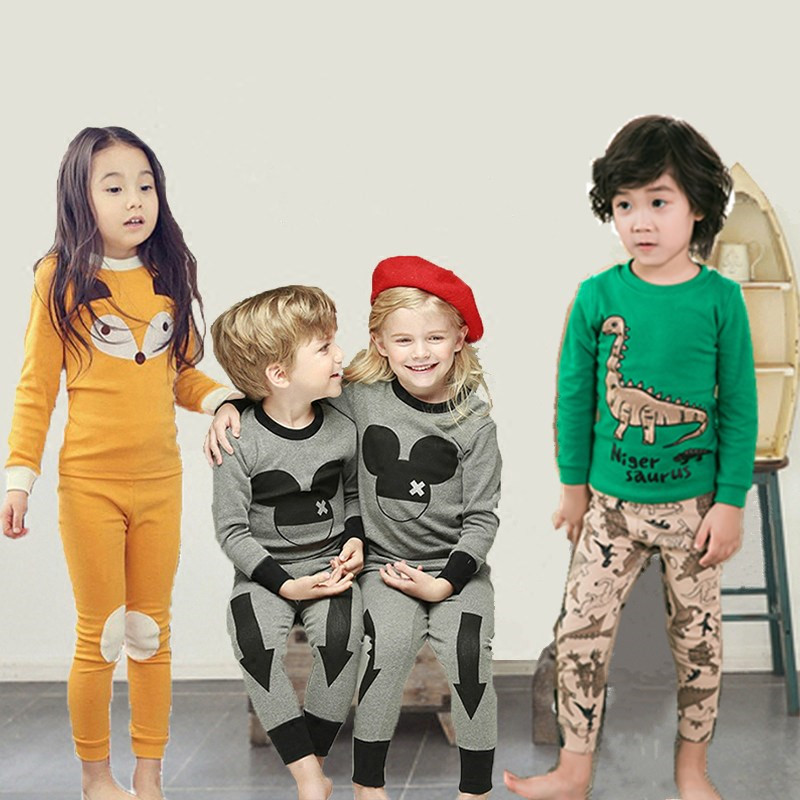 2017 New kids clothes sets Korean Style Children Cartoon Cotton Pajamas baby Boys Girls Totoro O-neck Pullover Unisex Pijama 2015 new arrive super league christmas outfit pajamas for boys kids children suit st 004