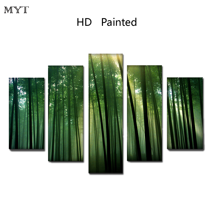 HOT sale Bamboo forest cheap HD Printed on Canvas Print Painting Modern Landscape Wall Art Picture For living room Home Deco