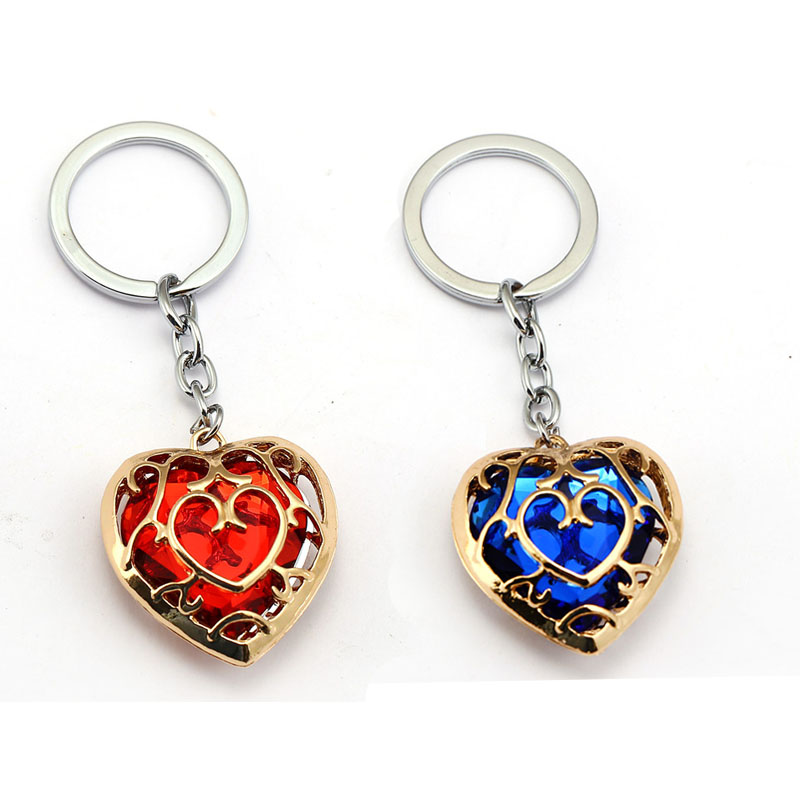 US $1 6 43% OFF|H&F Game The Legend Of Zelda Keychain Enamel Heart Blue Red  Metal Pendant Key Chain Ring Holder Men Souvenir llaveros Chaveiro-in Key