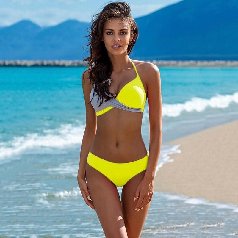 HolaSukey Push Up Bikini 2019 Swimwear Women Swimsuit Sexy Bikinis Mujer Biquini Patchwork Maillot De Bain Femme Halter Tops