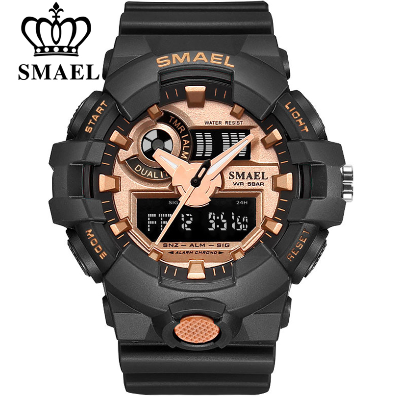 Haut De Luxe Marque SMAEL Hommes Sport Montres Hommes de Quartz LED Analogique Horloge Homme Militaire Imperméable À L'eau Montre-Bracelet relogio masculino