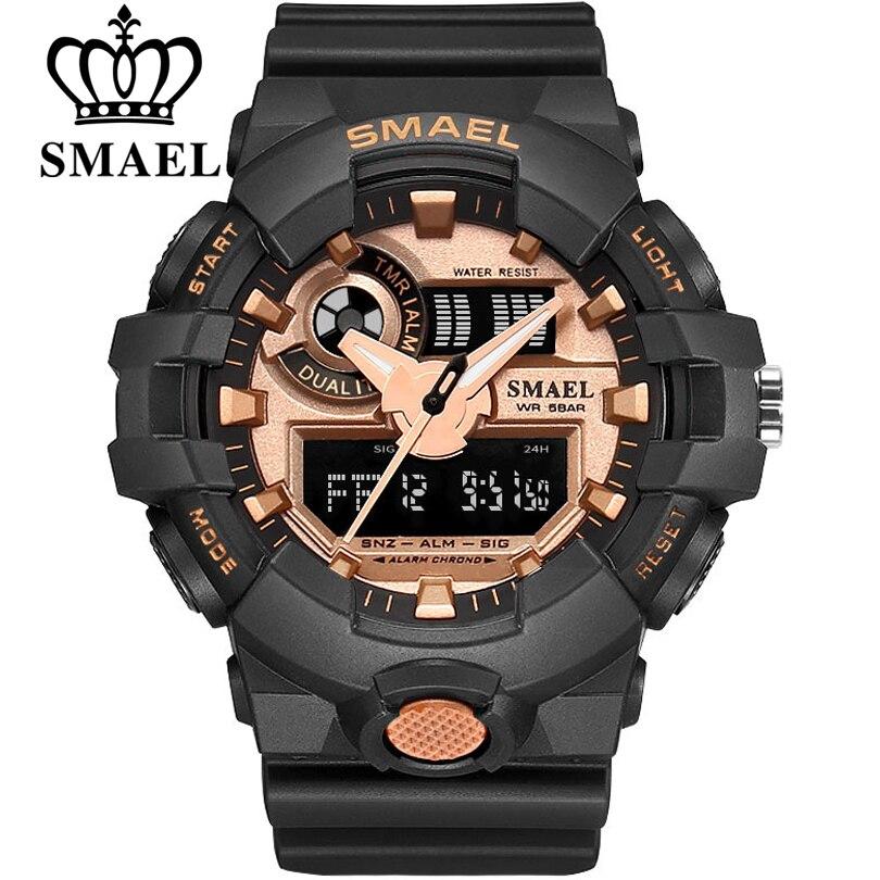 Top Luxusmarke SMAEL Männer Sport Uhren herren Quarz LED Analog Clock Mann Militärische Wasserdichte Armbanduhr relogio masculino