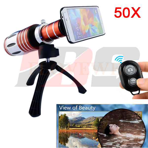 50X Telephoto Zoom Lens Telescope Camera Lentes Kit Tripod With Bluetooth Remote Control Shutter For iPhone 4 5 5S 6 6S 7 Plus