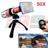 50x телефото зум объектив телескоп Камера Lentes комплект штатив с Bluetooth Дистанционное управление спуска для Iphone 4 5 5S 6 6 S 7 Plus