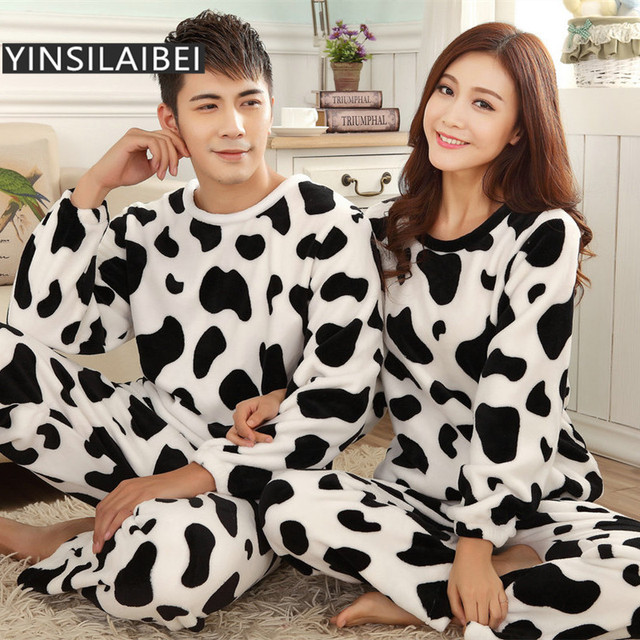 ae02ca6c4a Animal Cow Print Winter Warm Flannel Pajamas Sets for Couple Thick Long-Sleeved  Sleepwear for