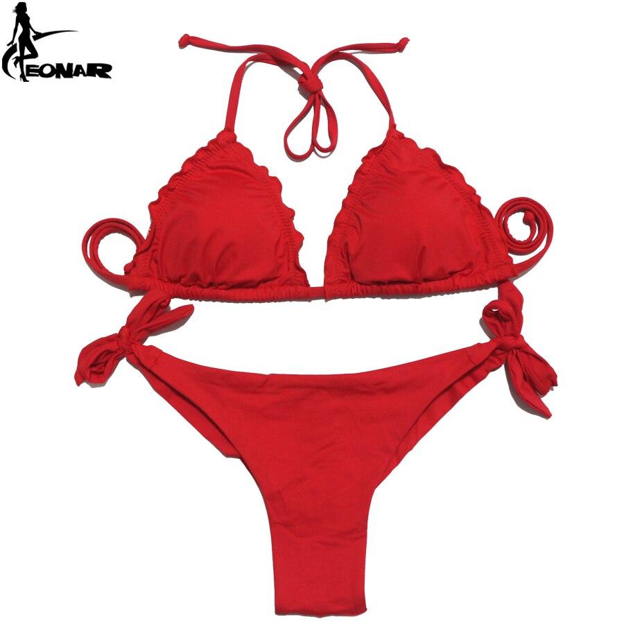 EONAR Women Swimsuit 2018 Ruffle Push Up Top Bikini Brazilian Cut Bottom Bikini Set Maillot De Bain Femme Swimwear Bathing Suit