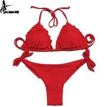 EONAR Women Swimsuit 2018 Ruffle Push Up Top Bikini Brazilian Cut Bottom Set Maillot De Bain Femme Swimwear Bathing Suit