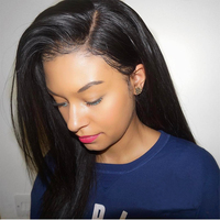 250 плотность Синтетические волосы на кружеве натуральные волосы парики для женский, черный прямой парик бразильский 13x4 бесклеевого Синтети