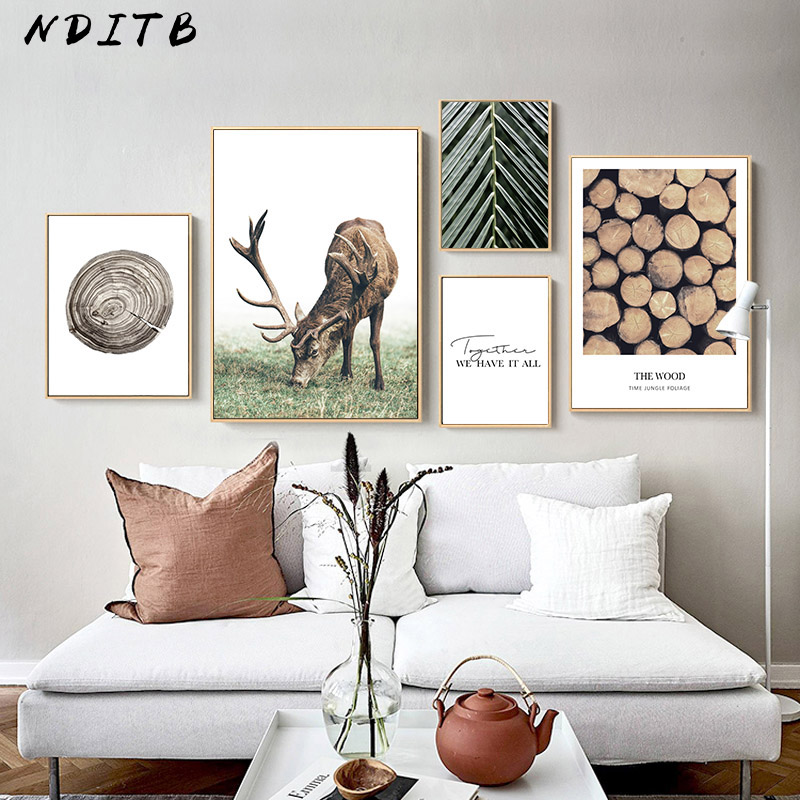 Scandinavian Poster Nordic Style Deer Wood Wall Art Canvas Print Painting Decorative Picture Modern Living Room Decoration