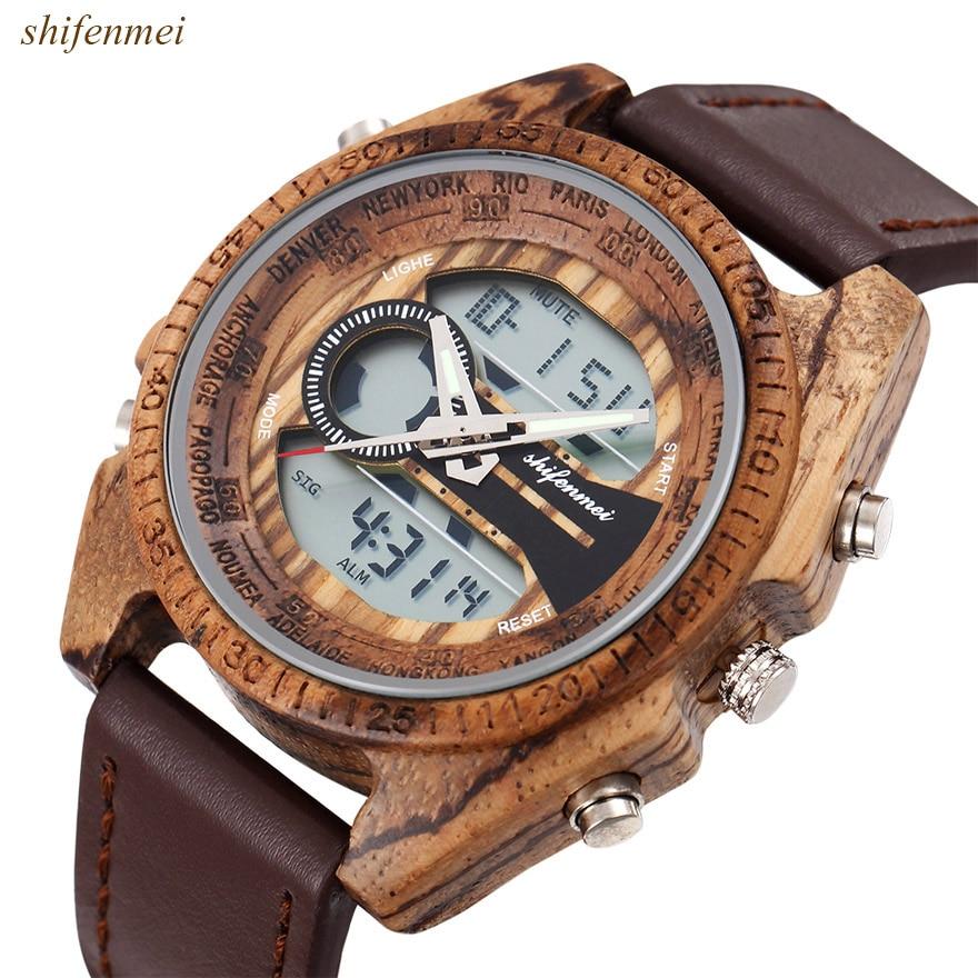 Image 2 - Men Wooden Watches Relogio Feminino Digital And Quartz Wristwatch Timepieces Dual Display Watch luxury Top Masculino OrologioQuartz Watches   -