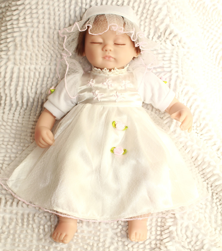 NPK Doll 45 cm Silicone Bebe Reborn Dolls Three Styles Realistic Soft Baby Girls Wear Delicate white dress 18 Inch Kids Toys