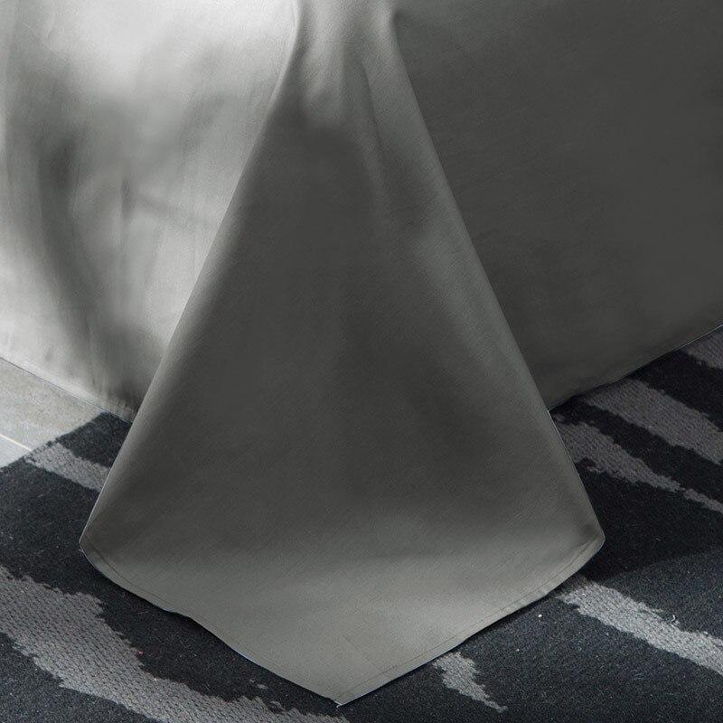 Doux gris pince pli Design housse de couette ensemble coin cravates coton Pintuck décoratif literie ensemble reine roi 4 pièces - 5