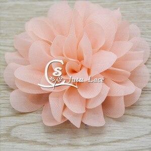 Image 4 - 100 sztuk/partia, 3.75 muszelki szyfonowe kwiaty, shabby szyfonowe kwiaty dla pałąk akcesoria mody akcesoria apperal