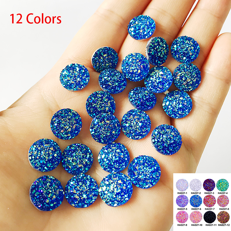 100pcs/lot 12 Colors Glitter Cabochon 12mm Resin Accessories For Making DIY Earrings Blinking Cabochon Match 12mm Metal Bottom