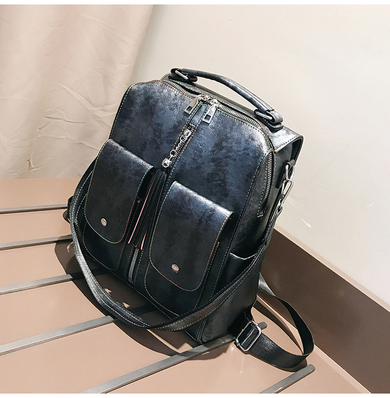 HTB1rc5NacnrK1RjSspkq6yuvXXaf Retro Leather Women Backpack Zipper School Backpacks For Teenage Girls Bag Large Capacity Multifunction Mochila Feminina XA227H