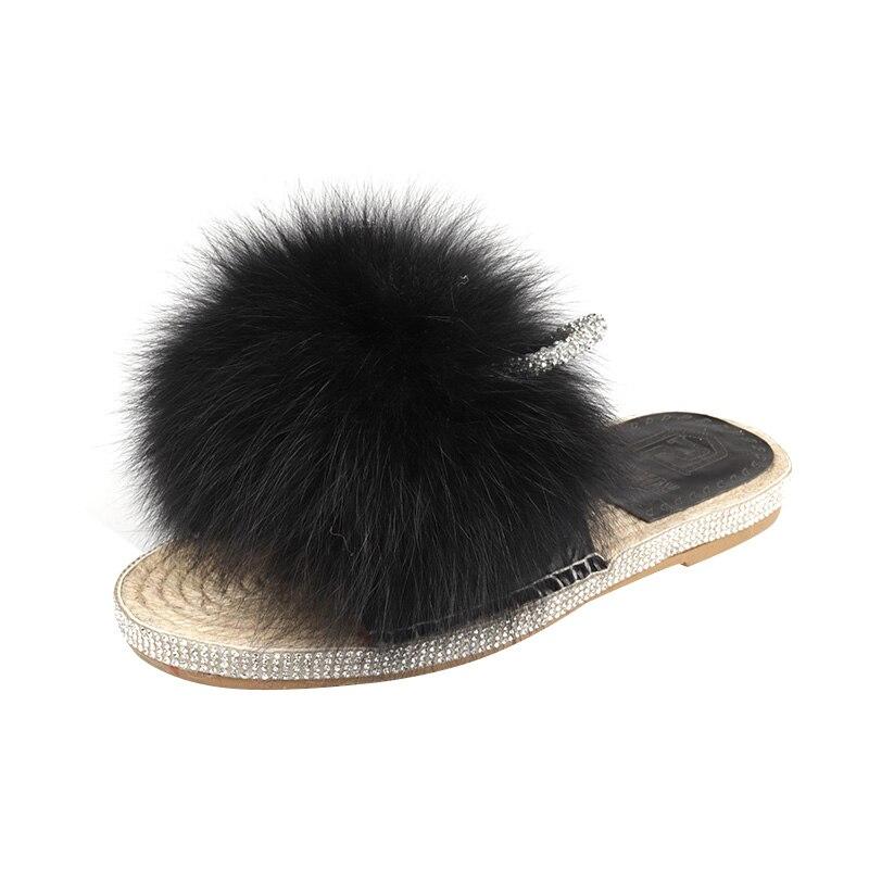 Fourrure fourrure glisse été femmes pantoufles mignon en peluche renard cheveux moelleux pantoufles femmes chaussures femmes maison pantoufles intérieur Bling chaussures - 6
