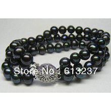New Black Akoya Cultured Pearl Round loose beads 3 ROWS 7-8MM making jewelry Bracelet 7.5