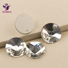 Top 3200 Rivoli Clean Crystal 8 10 12 14 16 18 20mm Sew on Rhinestones Beads Sewing On Round Crystals Sew-on Tow Holes