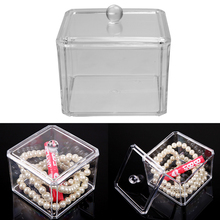 High Quality New Design Clear Acrylic Cotton Swab Box Q-tip Storage Holder Cosmetic Makeup tool Women Storage Box With Lid