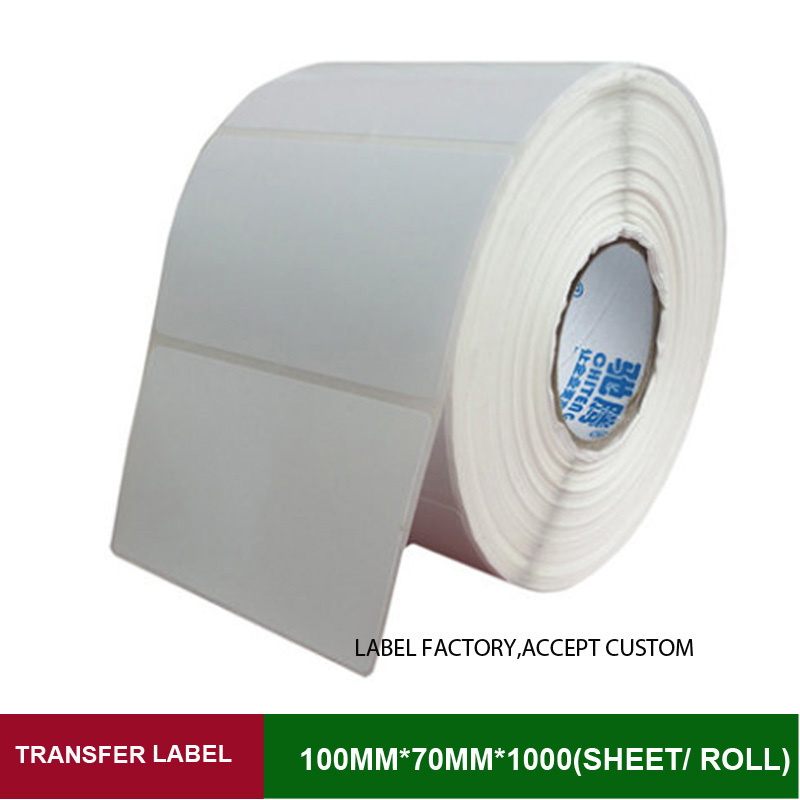 Thermal transfer label sticker 100mm*70mm blank printing adhesive paper 1000 sheet per roll papel adhesivo for label printer supermarket direct thermal printing label code printer