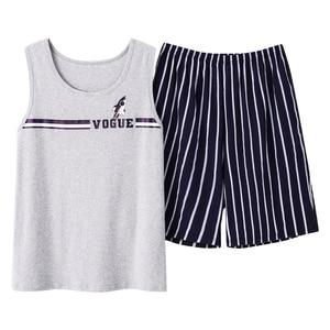 Image 5 - Summer Cotton Couple Vest Pajama Sets Cartoon Pijama Sleeveless Casual Cute Plus Size M 3XL 2Pcs/set Pyjamas Lovers Sleepwear