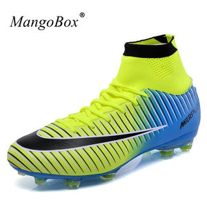 8dcf4054ebed 2018 Football Shoes Large Size Soccer Cleats Men Kids High Top Black Soccer  Boots