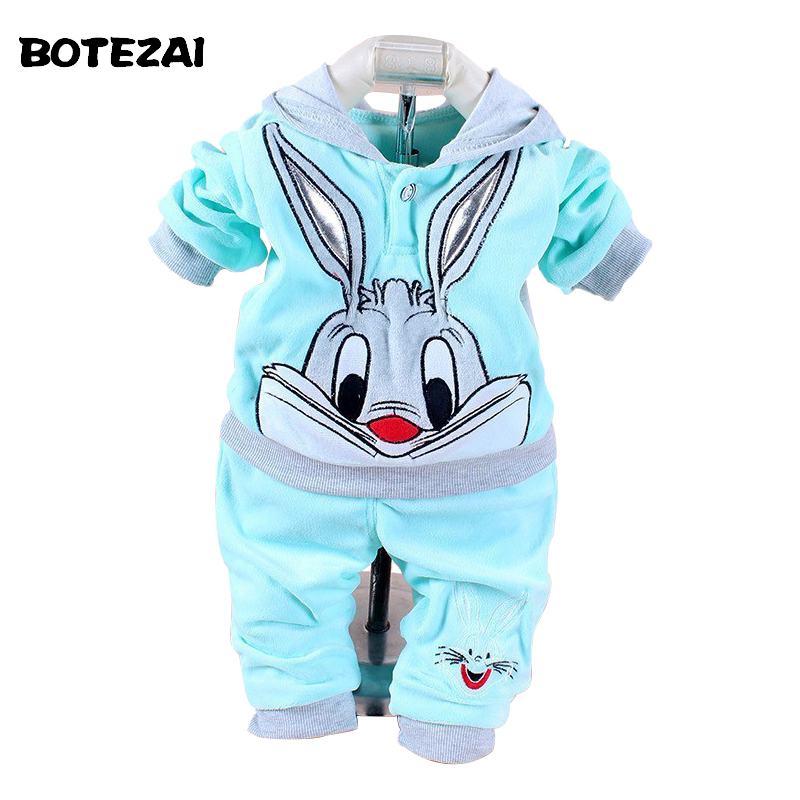 Baby Girls Clothing Set Cartoon Rabbit & Hello Kitty 2017 Winter Autumn Children Clothing Casual Tracksuits Kids Clothes Girls