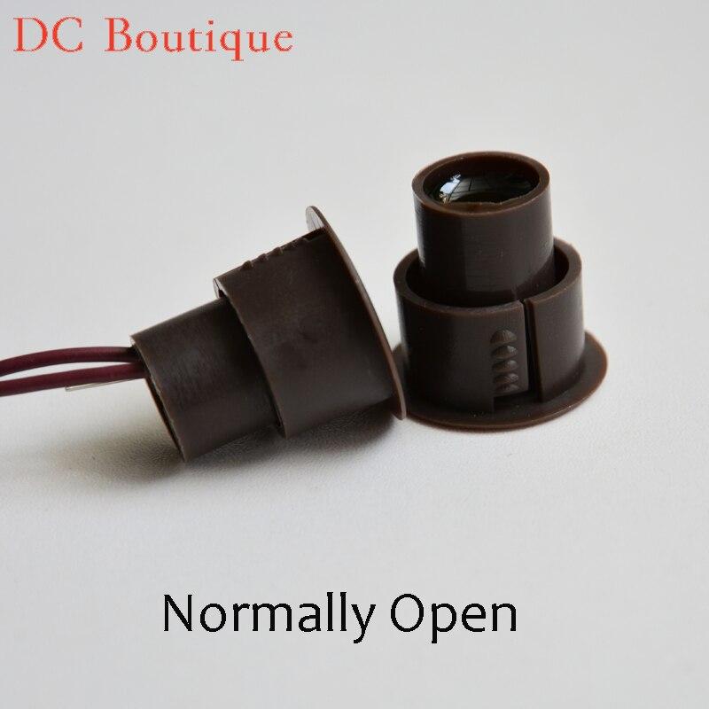 (10 Pairs) D * H 23*22mm Braun Farbe Wired Magnetschalter Türalarm Sensor Sicherheit Magnet Fenster Alarm Normal Open Relais Gesundheit FöRdern Und Krankheiten Heilen
