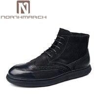 Northmarch брендовая зимняя Ботильоны из телячьей кожи Для мужчин Высокое качество Ретро bullock Вырезка цветок ботинки Martin модные Мужская обувь