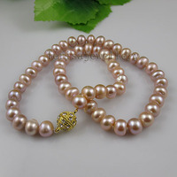 Terisa Pearljewelry Natural Lavender Color AA 8 9MM Freshwater Pearl Necklace 18inches Yellow Rhinestone Magnet Clasp