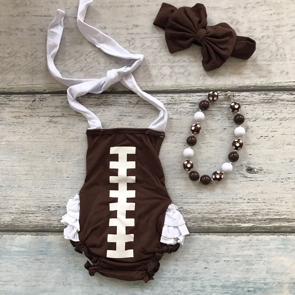 baby girls boutique clothing infant clothes football season cotton fashion brown white romper with matching accessories set baby girls football season outfit girls tutus football touch downs clothing children top with football skirts with accessories