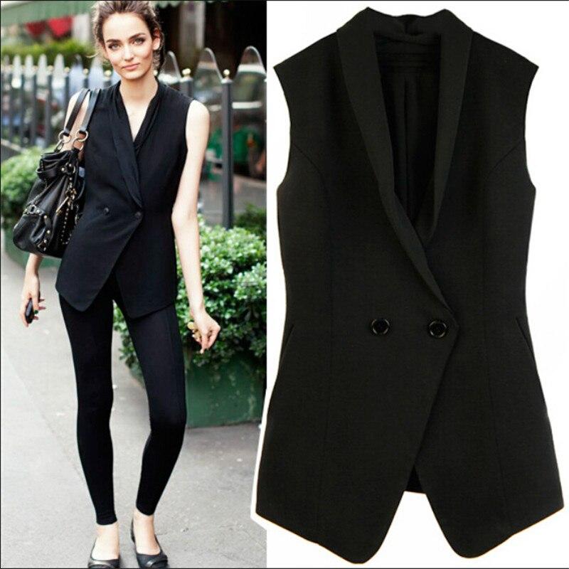 Femmes noir gilet Double boutonnage formel femme gilet Vestes Sans Manches Ol Style femmes Blazer gilet A3138