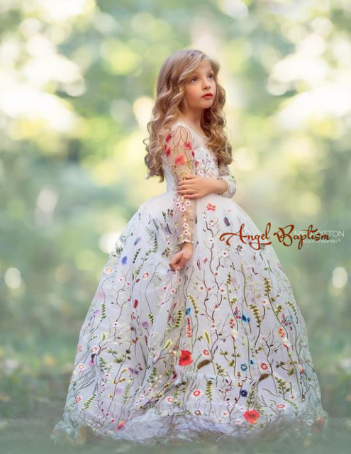 Princess ball gown white long sleeves embroidery lace girl glitz ...