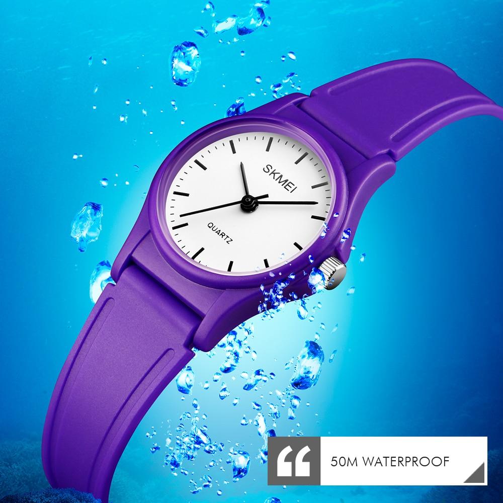 SKMEI Sports Kids Waterproof PU Watches Boys Girls Children Watch Plastic Case Students Quartz Wristwatch Clock Reloj
