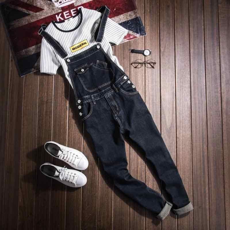0c004d3ec7c Fashion mens Denim jumpsuits womens black denim bib pants Couple pocket  overalls British style slim One