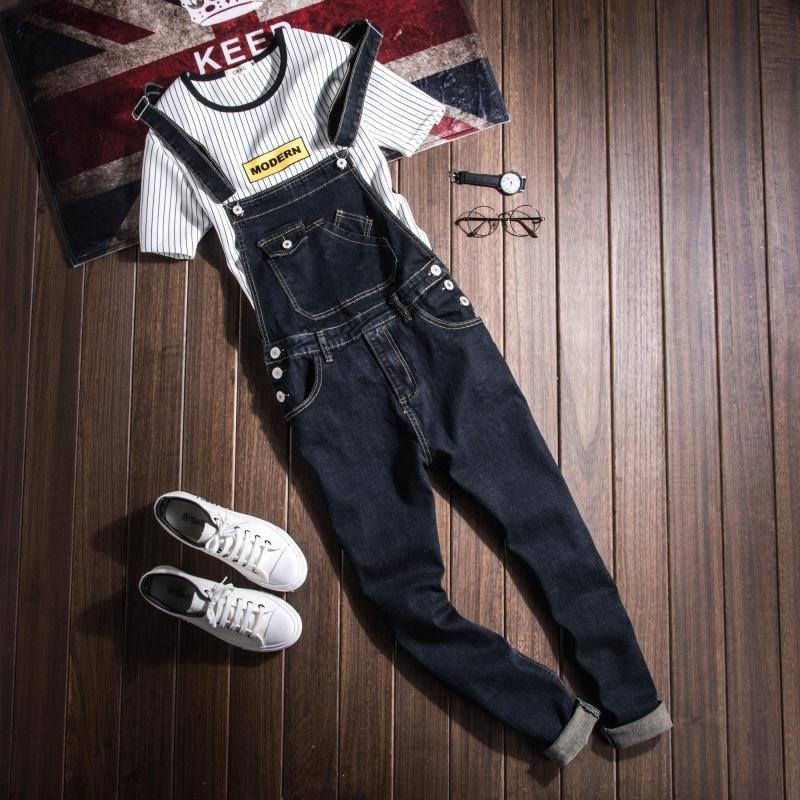 Fashion mens Denim jumpsuits womens black denim bib pants Couple pocket overalls British style slim One-piece   jeans   Pencil pants