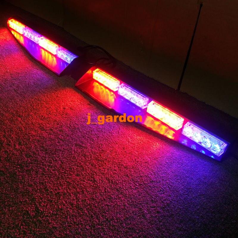2x 16 LED Exclusive Split Visor Deck DashCar Truck Emergency Beacon LightBar Strobe Warning Red/Blue/Red/Blue LightBar
