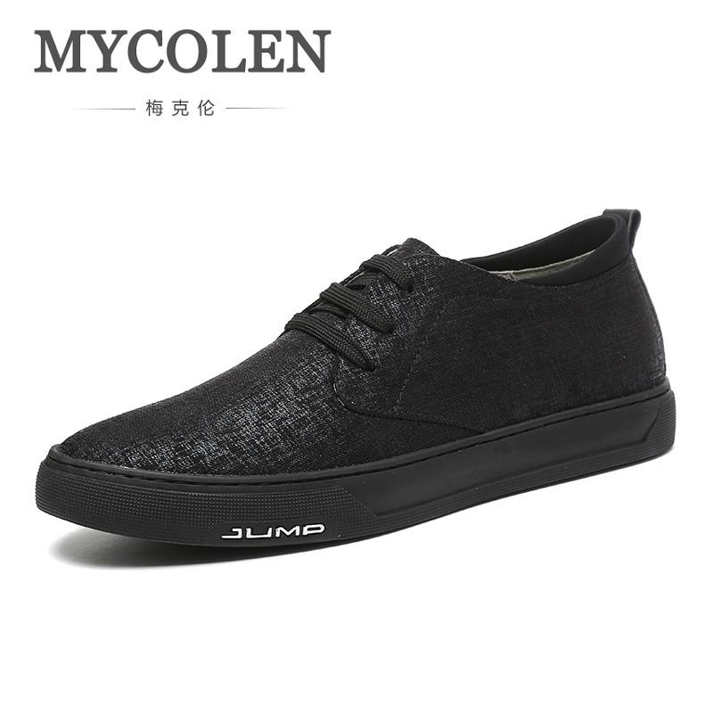 MYCOLEN New Arrival Spring Summer Comfortable Casual Shoes Mens Canvas Shoes For Men Black Lace-Up Brand Fashion Flat Shoe brand new spring casual boys canvas low top shoes slip on mens lightweight canvas shoes for young men fashion flat shoes ac 07
