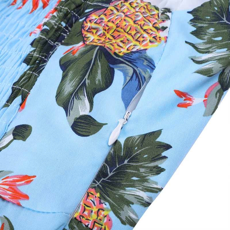 MISSJOY 2018 Summer Halter pineapple dress Women Flower Polka Dot Print Mesh Lace Patchwork Casual Party Rockabilly Midi dress in Dresses from Women 39 s Clothing