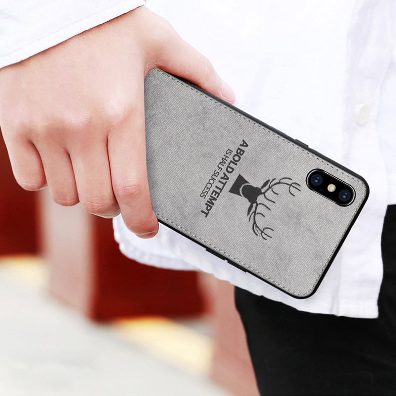 Luxury Fabric Phone Case For Iphone X Xr Xs Max Soft Silicone Case For Iphone 8 7 6 Plus 6s Cute Deer Bat Luxury Fashion Shell Good For Antipyretic And Throat Soother Cellphones & Telecommunications Phone Bags & Cases