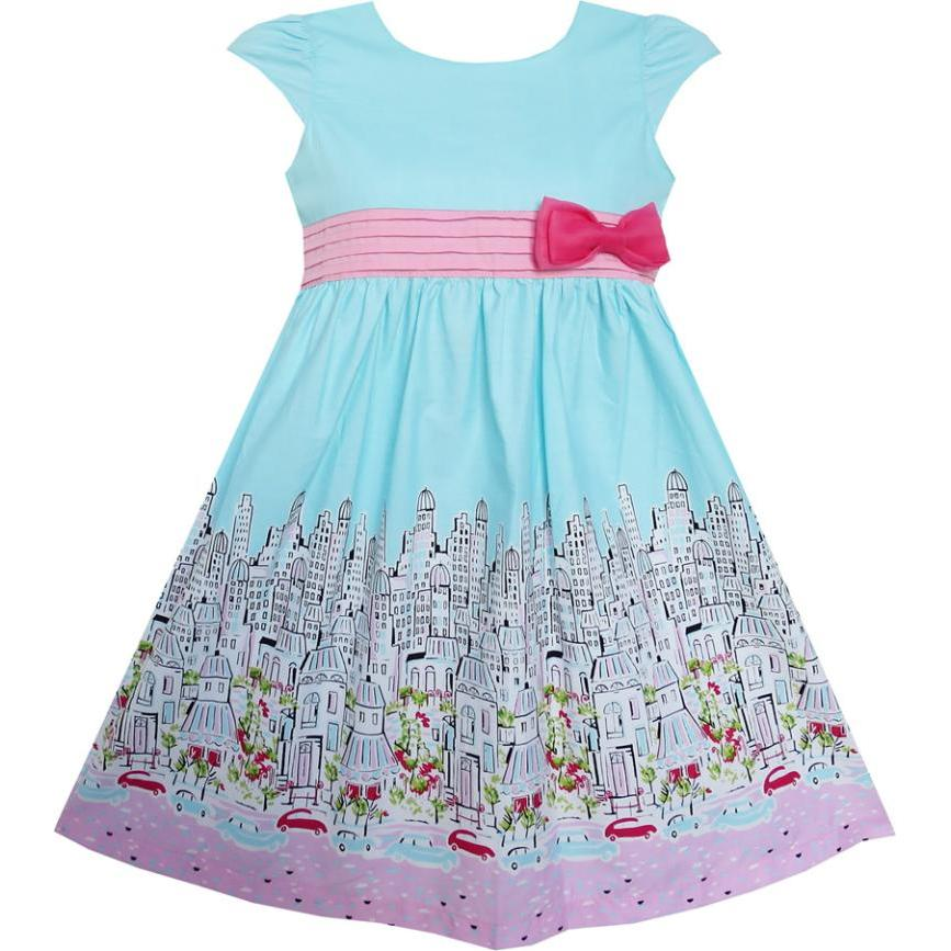Sunny Fashion Girls Dress Bow Tie City Building Car Blue Sundress Cotton 2018 Summer Princess Wedding Party Dresses Size 3-8
