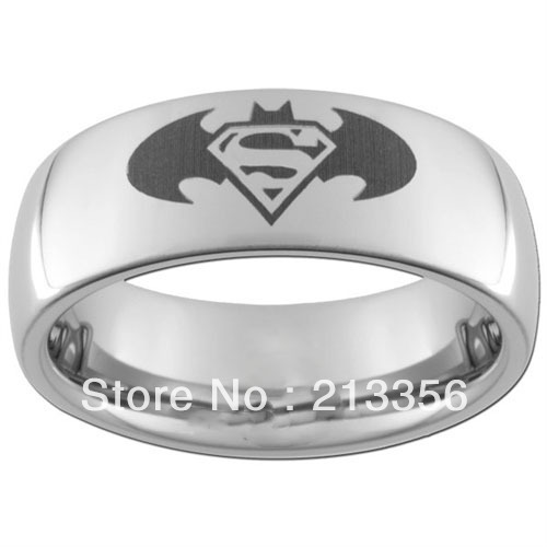 10pcslot free shippingusa wholesales cheap price 8mm womenmens silver his or her - Superman Wedding Ring