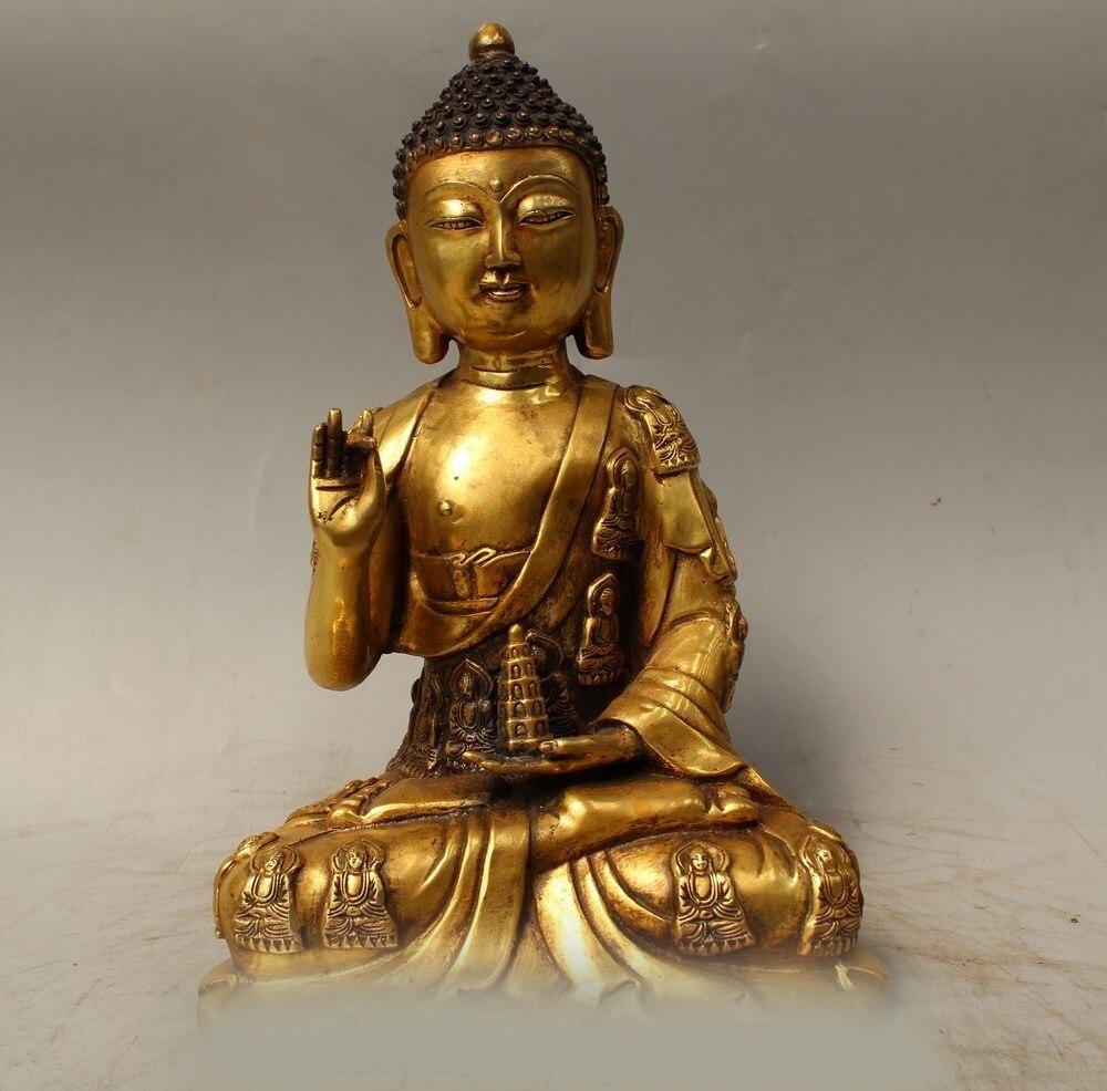 "DS 12"" Tibet Buddhism Bronze Gild Sakyamuni Shakyamuni Amitabha Buddha pagoda|buddha god|buddha hand|buddha jade - title="