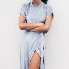 PADEGAO Short Sleeve Knee-Length Asymmetrica T-shirt Dresses mori vestido plus size bandage dress ladies casual Slit clothing