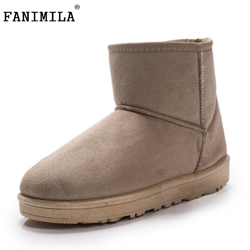 FANIMILA 7 Colors Women Half Short Snow Boots Women Thick Fur Mid Calf Boots For Cold Winter Shoes Women Footwears Size 35-40