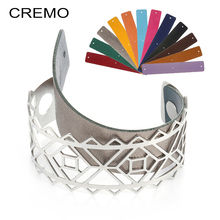Cremo Lace Cuff Bangles Argent Statement 25mm Wide Leather Band Multilayer Bijoux Femme Manchette Stainless Steel Bracelets